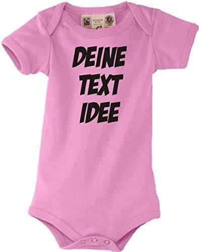 Shirtstown Bio Baby Body mit deinem Wunschtext oder Logo individuell Bedruckt, Farbe rosa, Größe 12-18 Monate