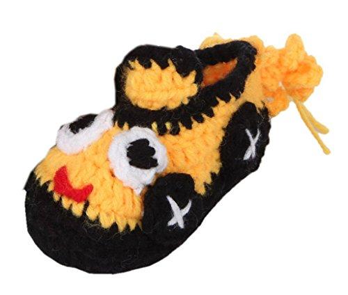 Bigood 1 Paar Strickschuh One Size Strick Schuh Baby Unisex süße Muster 11cm Dunkelgelb Dunkelgelb