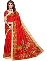 JENCY FASHION Kalamkari Silk Saree With Blouse (RED)
