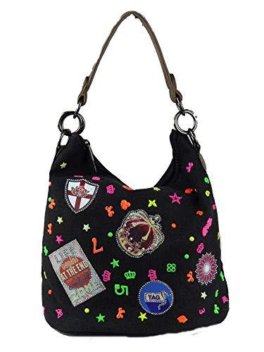 Coole Canvas Style Umhängetasche mit Patches funkelnden Steinchen Neon Zahlen Sterne Schleifen - Damen Mädchen Teenager (schwarz)
