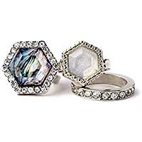 Lares Domi Vintage, con cristalli, colore argento, con zirconia cubica, imitazione Incrusted Art Deco-Anello da Cocktail