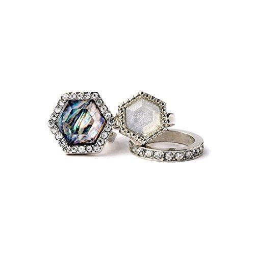 Lares Domi Vintage silberfarbenes Kristall Verkrustet simulierten Edelsteine Classic Art Deco Cocktail Ring Set
