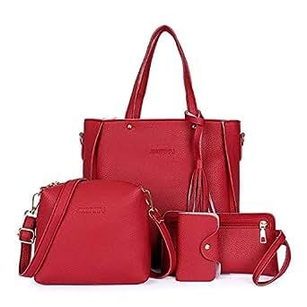 afd0c061d861 Fuolee Women Fashion Leather Zipper Handbag Solid Shoulder Messenger ...