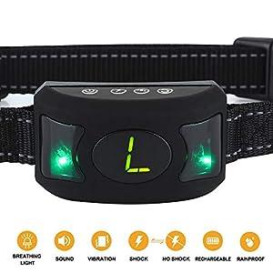 Le collier d'écorce arrête l'aboiement des vibrations sonores clignotantes avec Smart Chip-intelligent Dog SK, bip anti-aboiement Collier. Aucun contrôle d'écorce pour les chiens moyens/grands, collier d'écorce de chien moyen par Jiuhuazi