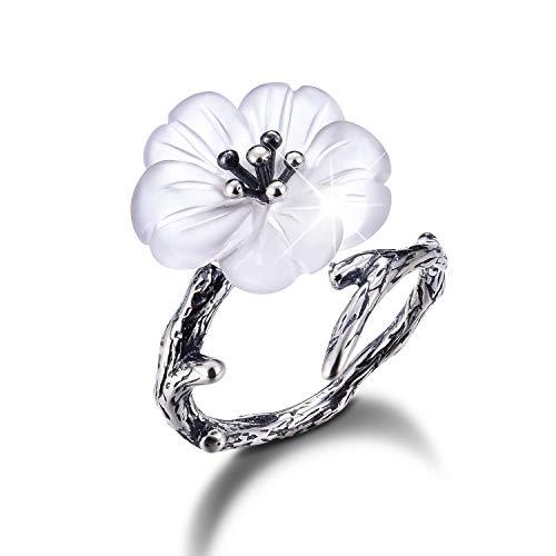 ing Silber Damen Ringe Blume im Regen Offener Ring Handgemachte Schmuck für Frauen und Mädchen. (Altes Silber) ()