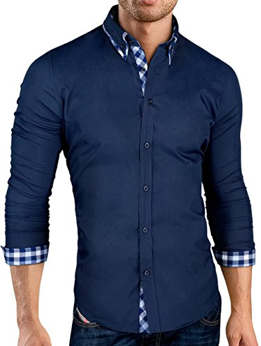 Grin&Bear Slim Fit doppelkragen design karo Hemd Herrenhemd bügelfrei, langarm, Navy, XL, SH520 (Cardigan V-neck Button-down)