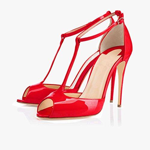 EDEFS Damen T-Spangen Pumps Stiletto Heels Knöchelriemchen Schuhe mit T-Strap Rote