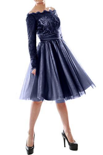 MACloth - Robe - Trapèze - Manches Longues - Femme Bleu Marine