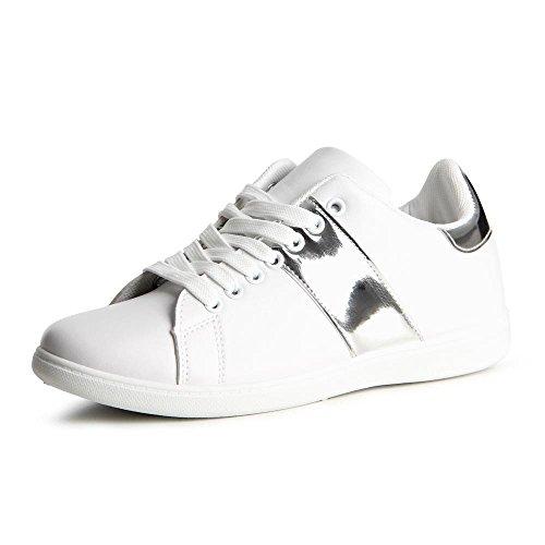 Topschuhe24 804 Sneaker-Scarpe da ginnastica da donna (Weiß Silber)