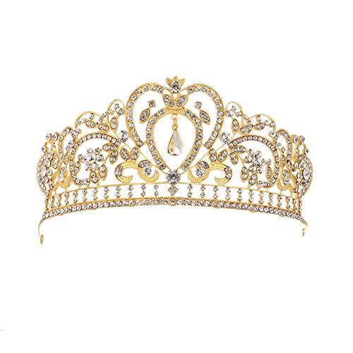 Für Erwachsene Kronen Kostüm - Fablcrew Strass Diadem Hochzeit Diadem Braut Brautjungfern Strass Kronen Stirnband Damen Schließe Haarspange Pin Silbernes Haarspange 1 Stück Gold