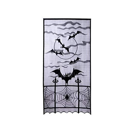 Homiki Hauptprodukt Vorhang 100x213cm Schwarze Fledermaus Halloween Spinne Spitze 1 PC