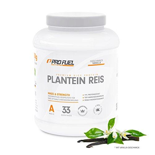 #Hochwertiges Reisprotein mit essentiellen Aminosäuren für Muskelaufbau & Abnehmen   Protein-Pulver, Eiweiß-Shake – pflanzlich, vegan, glutenfrei, laktosefrei   ProFuel Plantein Reis NEU – VANILLA#