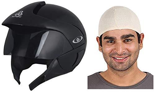 Autofy O2 Full Close Helmet (Black, M) and Autofy Unisex Multipurpose Hair Protector Dust Pollution Skull Cap (Biege) Bundle
