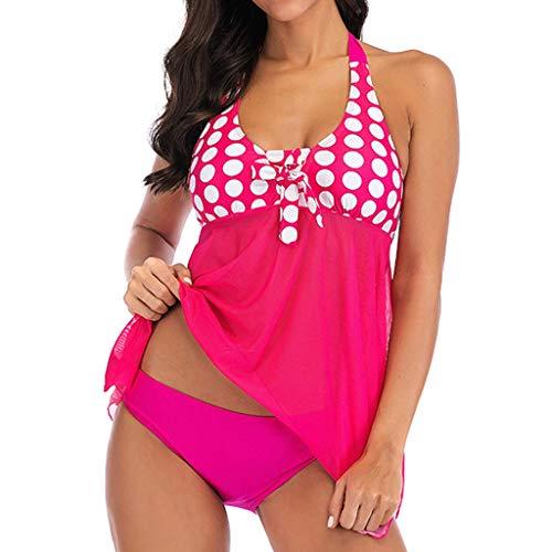 Vectry Damen Neckholder Tankini Set Mädchen Gepunktet Mesh Splice Bademode Für Mollige Push Up Badeanzüge Swimwear(Rosa,X-Large) -