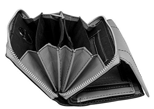 Damen Geldbörse Leder Lang mit viele Kreditkarten (Beidseitig bedienbar) Fächer Frauen Portemonnaie Portmonee Echtleder Geldtasche Brieftasche Franko (BB05-Grau)