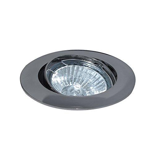 LEDmaxx Einbaustrahler, Gunmetal schwenkbar, Zink, 50 W, weiß, 8.4 x 8.4 x 2.5 cm