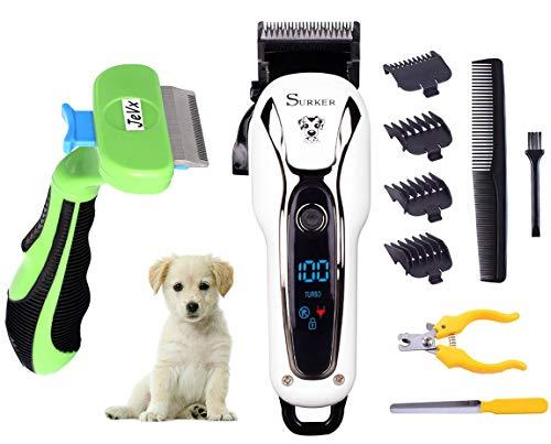 JeVx - Tagliacapelli per Cani e Gatti con Batteria Regolabile, Taglia Unghie, Lima per Unghie, Spazzola per sbavature, Funzione Turbo Display 4 pettini tagliaunghie Senza Fili Professionale