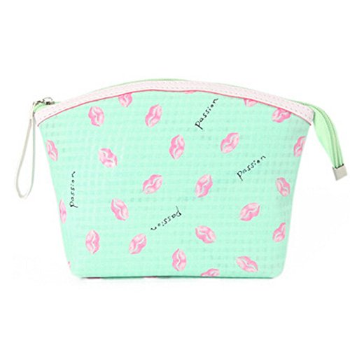 Portable Maquillage Voyage Cosmetic Bag Pouches Lip Prints,Vert