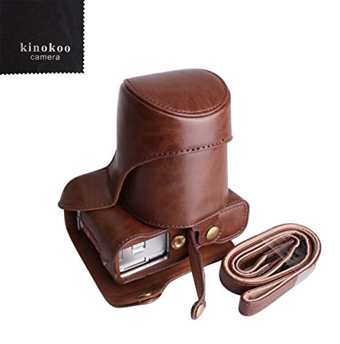 kinokoo Canon sintética funda de piel Para Cámara Fujifilm x-a3, Fujifilm x-a10y 16–50mm lente con debería correa y gamuza de limpieza