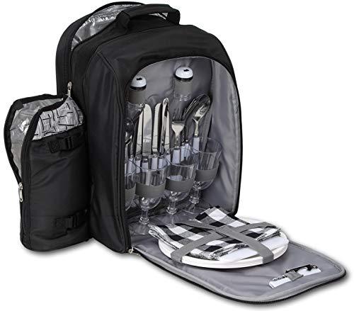 Brubaker Picknickrucksack Kühltasche für 4 Personen Schwarz Silber Jacquard 27 × 21 × 38,5 cm - mit isoliertem Flaschenhalter