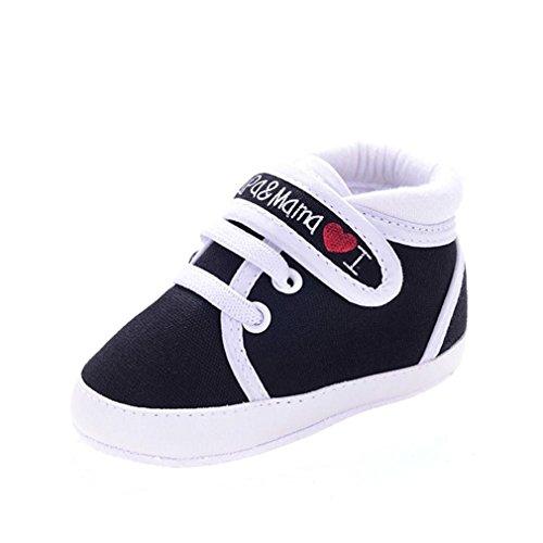 Uomogo® scarpine neonato scarpe neonato unisex in pelle morbida - ricamo a forma di cuore - sneaker antiscivolo (età: 12~18 mesi, nero)