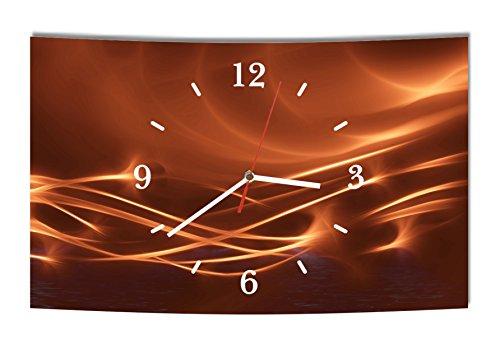 LAUTLOSE Designer Wanduhr Abstrakt braun modern Dekoschild Abstrakt Bild 38 x 25cm