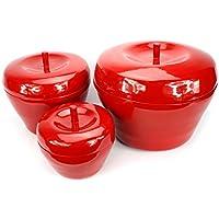 Thai lacquerware stile contemporaneo, colore: rosso con motivo mele, 3