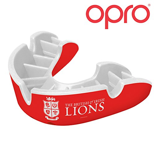 OPRO Adult Silver Self-Fit British & Irish Lions Official Mouth Guard Gum Shield for Rugby, Football, Martial Arts, Hockey, Boxing, Contact Sports - 18 Month Warranty (Red Limited Edition)