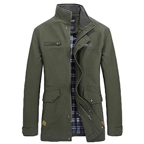ZKOO Homme Casual Vestes Blouson en Coton Tranchée Manteau l `automne et l`hiver Windbreak Parka Armée Verte