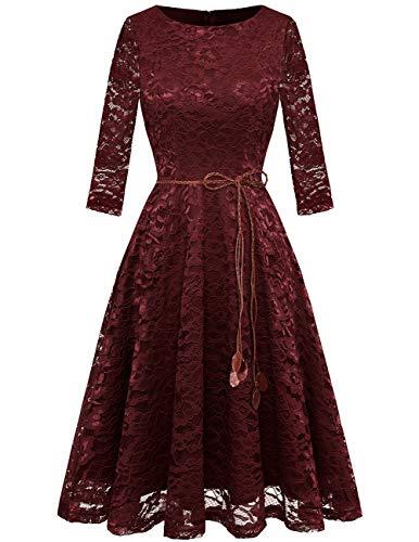 zenkleid 3/4 Ärmel Prinzessin Blumen Abendkleid Brautjungfernkleider Burgundy L ()