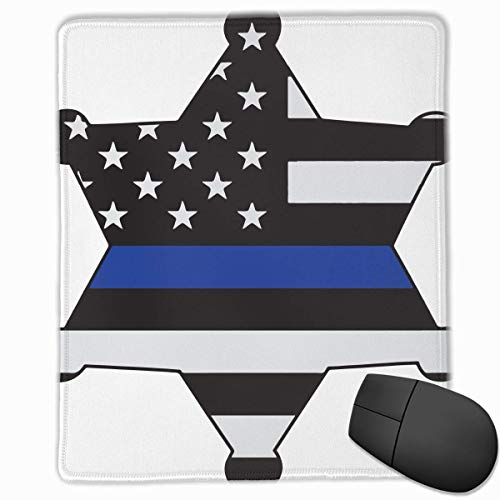American Flag Thin Blue Line Quality Comfortable Game Base Mouse Pad with  Stitched Edges Size 11 81 * 9 84 Inch