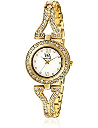 Watch Me White Color Gold Metal Strap Watch For Girls WMAL-274