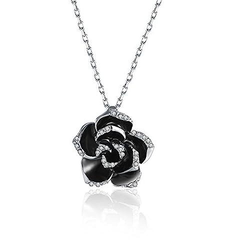 FushoP Schwarze Rosen Blumen Kristall Hängende Halskette (Mit Platin