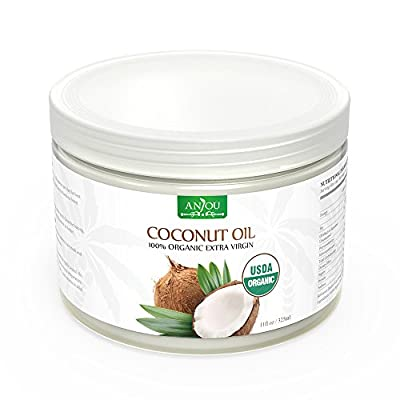 Coconut Oil by Anjou, Extra Virgin, Cold Pressed Unrefined for Hair, Skin, Cooking, Health, Beauty, USDA Certified, from Sri Lanka (11oz / 325mL) from Anjou
