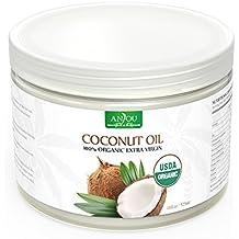 Huile de Coco Anjou, 100% Organique Extra Vierge, Huile de Noix de Coco Bio de Sri Lanka, Pressée à Froid et Non Raffiné, Certifiée USDA, Coconut Oil Polyvalent pour Cheveux, Peau, Cuisine, Santé et Beauté - 325mL / 11oz