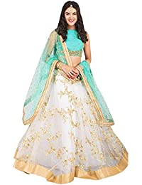 Surat4Fashion Women's Embroidered white net Lehengas Choli(NT01_white_FreeSize)