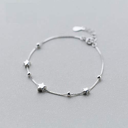 (WJP Damen Armband, S925 Silver Star Armband Mädchen, Sun Perlen Pentagram Armband Student Nette Handgemachte Geschenke,Silber,925er Silber)
