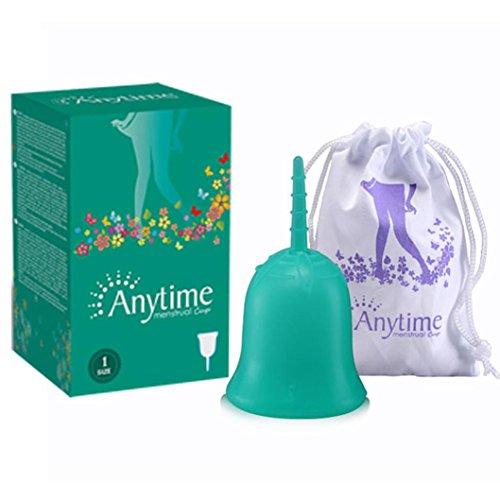 Jaminy Silikon Menstrual wiederverwendbare Silikon Menstruationstasse Zeitraum weichen medizinischen Tassen (Groß, Grün) (Weiche Tasse)