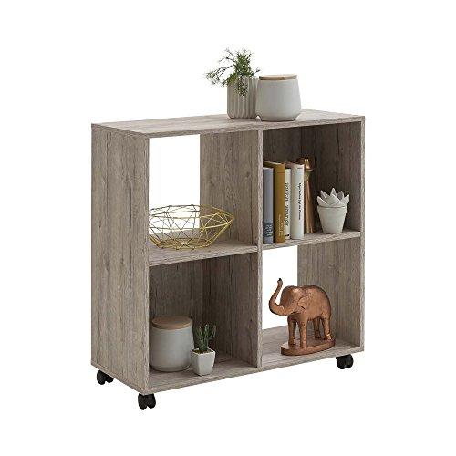 Unbekannt FMD Möbel Sprint Regal auf Rollen, Holz, sandeiche, 72 x 33 x 78 cm