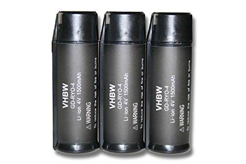 vhbw 3x Li-Ion Akku 1500mAh (4V) für Werkzeuge RP4900, TEK 4, TEK4, Ryobi AP4001, Ryobi CSD42l, Ryobi RGS410 Strauchschere wie Ryobi AP4001.
