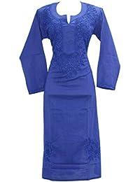 Lucknowi Chikankaari Navyblue Designer Needle Craft 100% Soft Cotton 46 Inches Long Kurta.