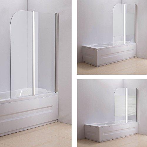 CLP Duschabtrennung Badewanne, Badewannenaufsatz NANO Echt Glas (ESG Sicherheitsglas) faltbar, 2 teilig, ca. 130 x 110 cm Klarglas/Milchglas - halbgefrostet, Anschlag: Links