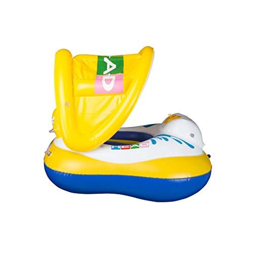 OLDJTK Schwimmen Float Tube PVC-Cartoon-Schwimmring Dickes rundes Poolspielzeug - mit Sonnenschirm -