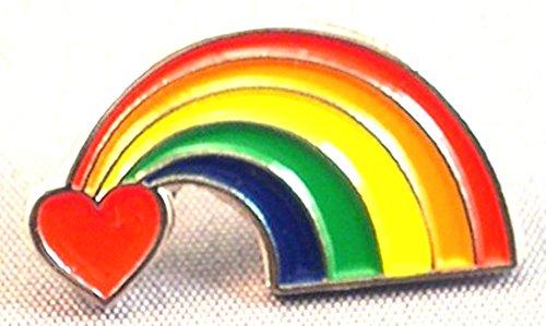 Spilla in metallo a forma di cuore, motivo: arcobaleno simbolo della pace, amore CND