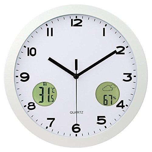 SJQ Thermometer Wohnzimmeruhr Mode einfache stille Schlafzimmer Wanduhr 12-Zoll-Metall-kreisförmige Uhr, 12 Zoll (30,5 cm Durchmesser), Elfenbein - Elfenbein-thermometer