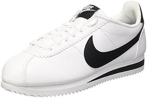 Nike Damen Classic Cortez Leather Laufschuhe, Weiß (White/Black/White), 38 EU