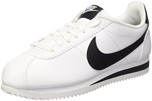 brand new 5134c 8171f Nike Wmns Classic Cortez Leather, Zapatillas para Mujer, Blanco Black-White  101,
