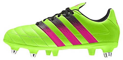 adidas Unisex Baby Ace 16.3 Sg J Leather Fußballschuhe Grün / Pink / Schwarz (Versol / Rosimp / Negbas)