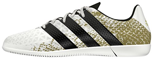 adidas Ace 16.3 In J, Scarpe da Calcio Bambino Bianco (Ftwr White/core Black/gold Metallic)