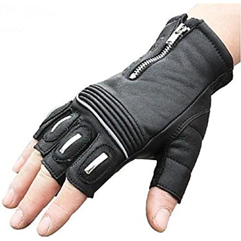 DZXGJ® alta calidad guantes de moto a prueba de viento de carreras dedo corto medio protectora deportiva de ciclismo en bicicleta guante de cuero de , black-xxl ,